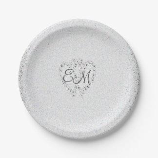 Diamond Glitter   Monogram Wedding Paper Plates