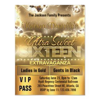 Diamond Glow Sweet Sixteen VIP Pass Invite [Gold]