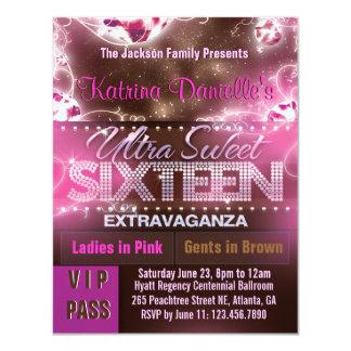 Diamond Glow Sweet Sixteen VIP Pass [Pink Brown] 11 Cm X 14 Cm Invitation Card