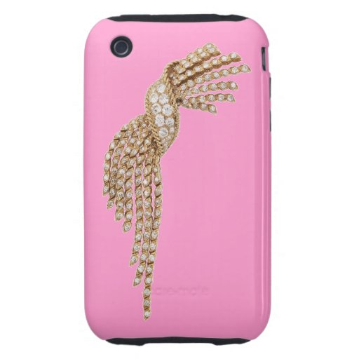 Diamond Gold Tassel Blackberry Curve Case Pink iPhone 3 Tough Cover