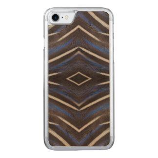 Diamond guinea fowl feather design carved iPhone 7 case