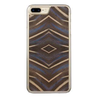 Diamond guinea fowl feather design carved iPhone 7 plus case