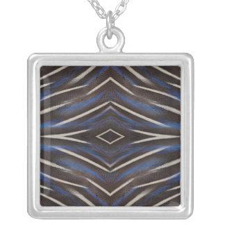 Diamond guinea fowl feather design silver plated necklace