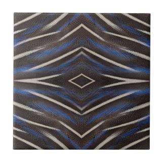Diamond guinea fowl feather design small square tile