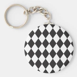 Diamond Harlequin Pattern in Black and White Key Ring