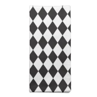Diamond Harlequin Pattern in Black and White Napkin