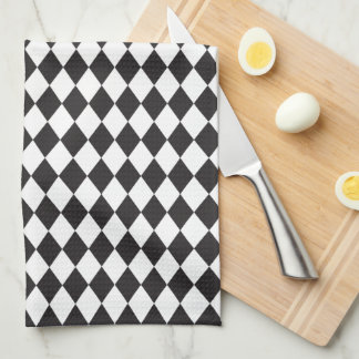 Diamond Harlequin Pattern in Black and White Tea Towel