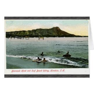 Diamond Head And Surf Board Riding Honcluta J.K., Greeting Card