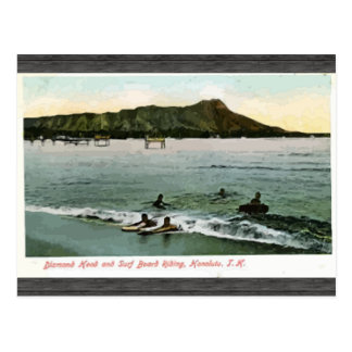 Diamond Head And Surf Board Riding Honcluta J.K., Postcard