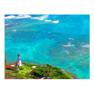 diamond head blue lighthouse postcard