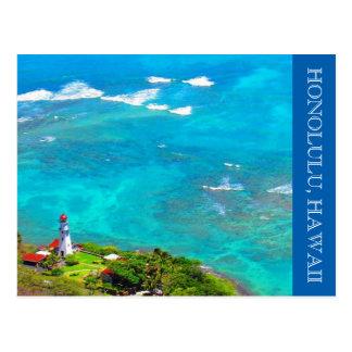 diamond head lighthouse blue postcard