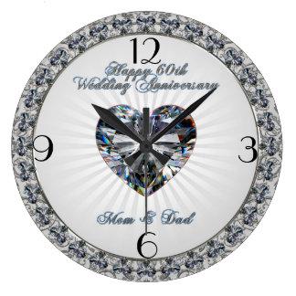 Diamond Heart 60th Wedding Anniversary Clock