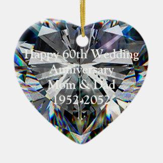 Diamond Heart 60th Wedding Anniversary Ornament