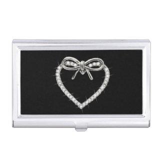 Diamond Heart And Bow Business Card Holder