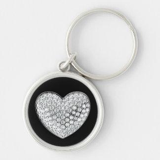 Diamond heart-black bg key chain