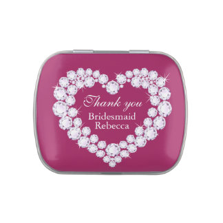 Diamond heart bridesmaid wedding thank you candy candy tins
