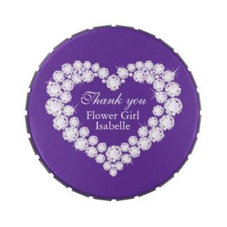Diamond heart flower girl wedding purple thank you jelly belly tins