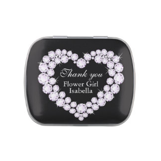 Diamond heart flower girl wedding thank you candy jelly belly candy tins