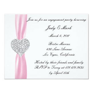 Diamond Heart Pink Engagement Party Invitation