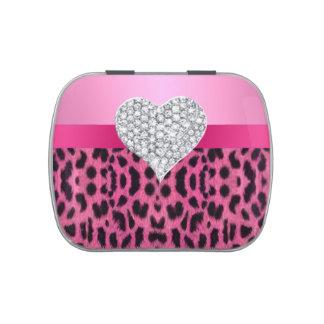 Diamond Heart Pink Leopard Candy Tin