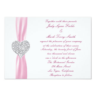 Diamond Heart Pink Wedding Invitation