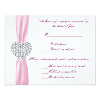 Diamond Heart Pink Wedding Response Card