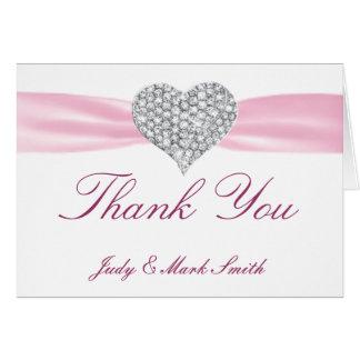Diamond Heart Pink Wedding Thank You Card