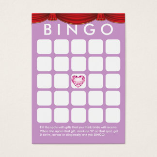 Diamond Heart Purple Bridal Shower Bingo Card