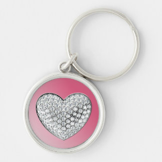 Diamond Heart Silver-Colored Round Key Ring