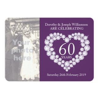 Diamond heart wedding photo 60 years party invite