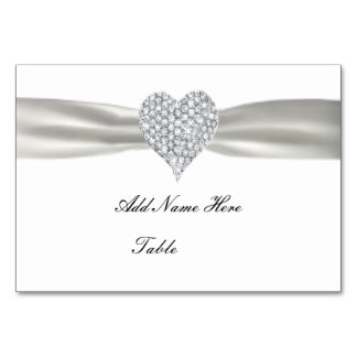 Diamond Heart White Wedding Table Place Card
