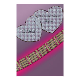 Diamond Hearts Lavender Pink Personalized Stationery