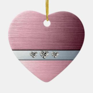 diamond hearts on light pink silvery background ceramic ornament