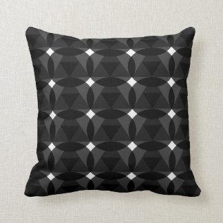 Diamond in Diamond Circle Black White Throw Pillow