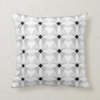 Diamond in Diamond Circle White Black Throw Pillow