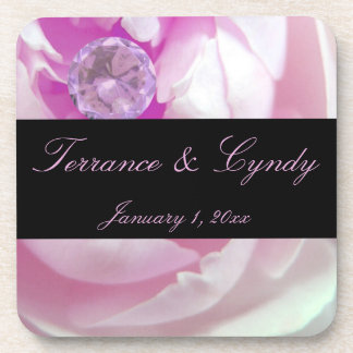 Diamond in Pink Rose Personal Wedding Coaster