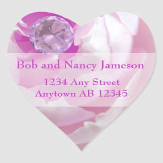 Diamond in Pink Rose Wedding Return Address Sticker