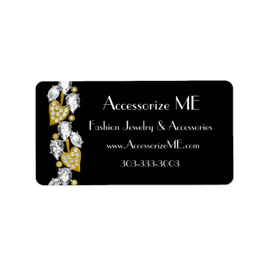 Diamond jewellery-black address label