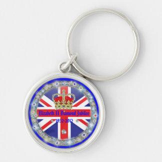 Diamond Jubilee Commemorative Souvenir Keyring Silver-Colored Round Key Ring