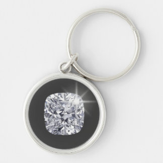 Diamond Key Silver-Colored Round Key Ring