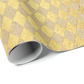 Diamond Kraft Chessboard Golden Chevron Natural Wrapping Paper