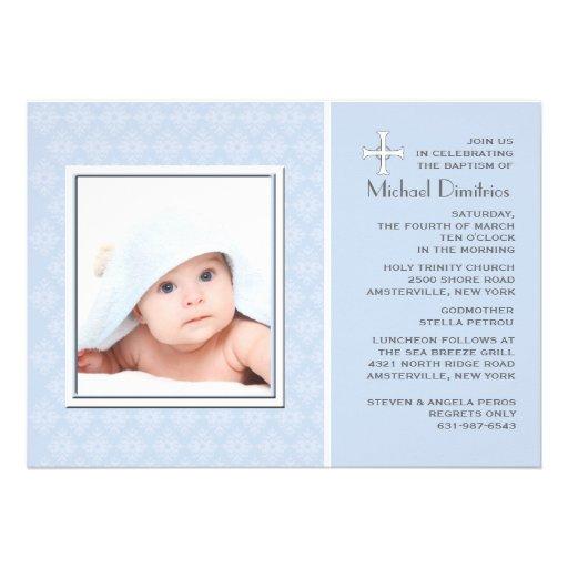Diamond Lace Blue Photo Invitation