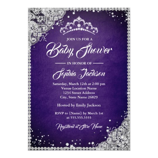 Diamond Lace Purple Silver Girl Baby Shower Card