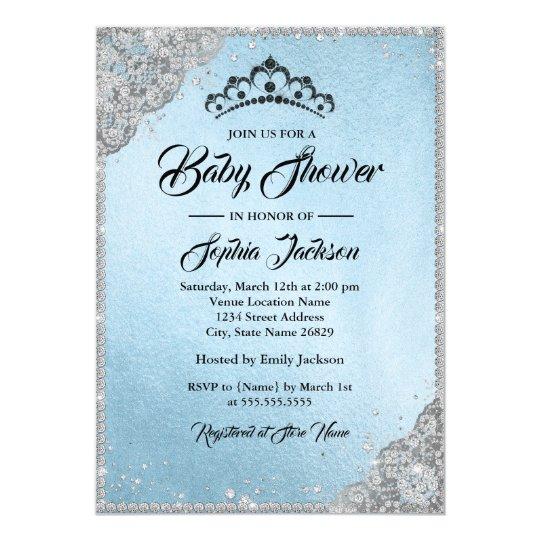 Diamond Lace Sparkle Blue Silver Baby Shower Card
