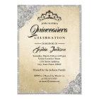 Diamond Lace Sparkle Gold Silver Quinceanera Card