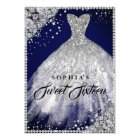 Diamond Lace Sparkle Gown Navy Silver Sweet 16 Card
