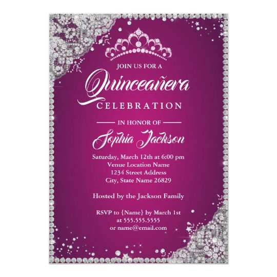 Diamond Lace Sparkle Pink Silver Quinceanera Card