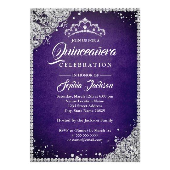 Diamond Lace Sparkle Purple Silver Quinceanera Card
