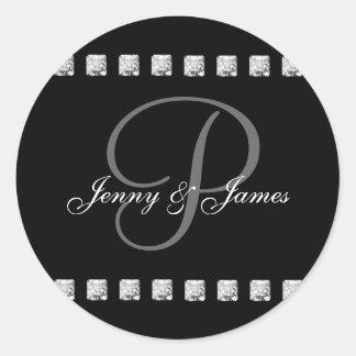Diamond Letter P Names Wedding Stickers