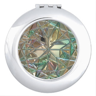 Diamond like, stained glass look compact compact mirrors